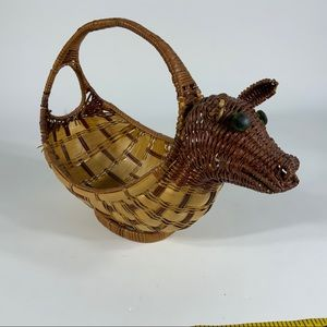 Vintage Woven Wicker Cow ?basket country decor